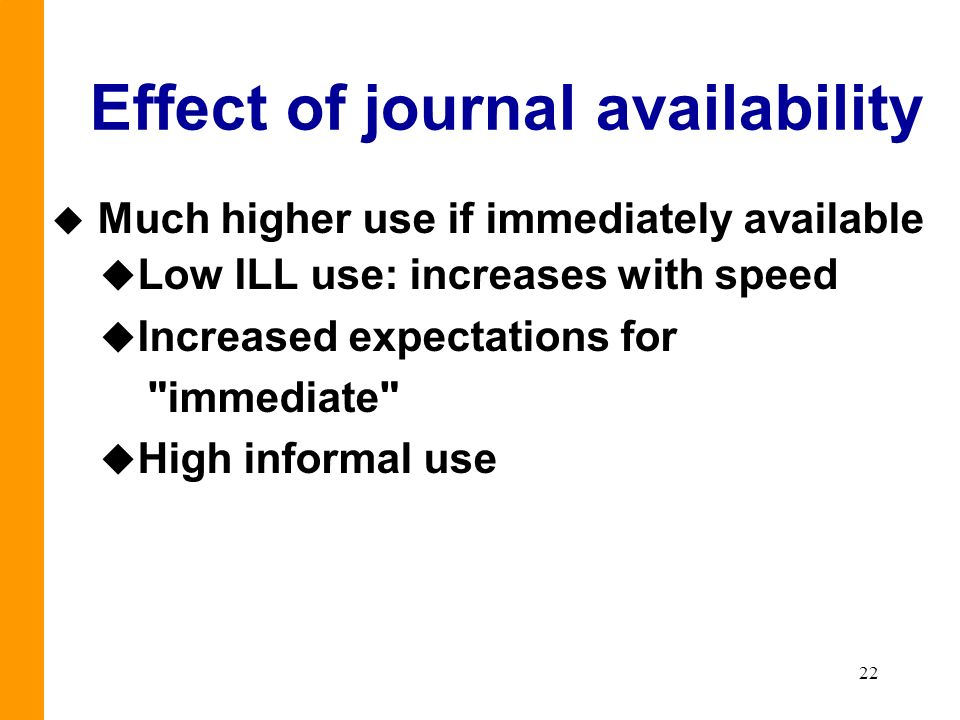 22 Effect of journal availability u Much higher use if immediately available u Low ILL use: increases with speed u Increased expectations for