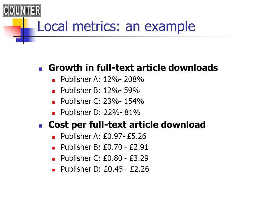 Local metrics: an example Growth in full-text article downloads Publisher A: 12%- 208% Publisher B: 12%- 59% Publisher C: 23%- 154% Publisher D: 22%- 81% Cost per full-text article download Publisher A: £0.97- £5.26 Publisher B: £ £2.91 Publisher C: £ £3.29 Publisher D: £ £2.26
