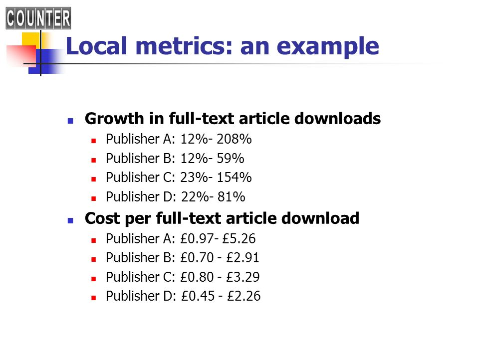 Local metrics: an example Growth in full-text article downloads Publisher A: 12%- 208% Publisher B: 12%- 59% Publisher C: 23%- 154% Publisher D: 22%-
