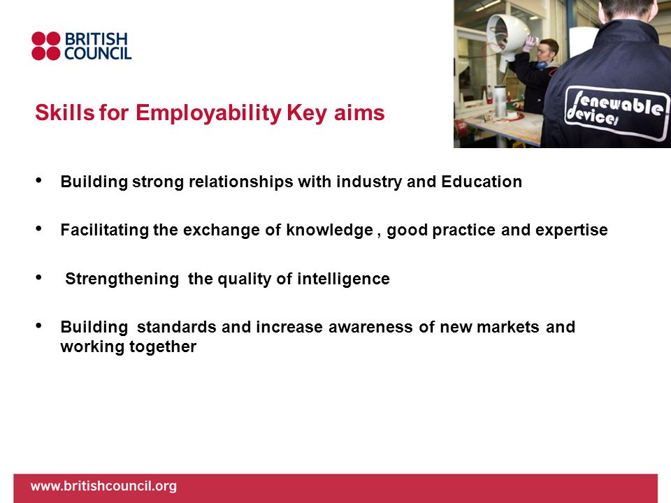 Skills for Employability Key aims Building strong relationships with industry and Education Facilitating the exchange of knowledge, good practice and