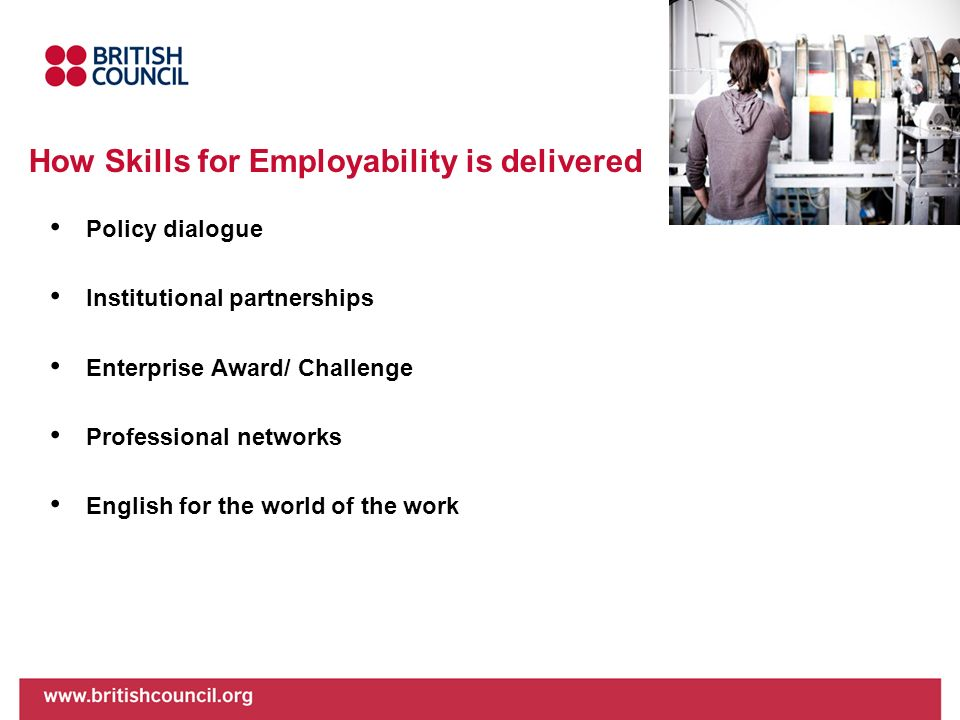 How Skills for Employability is delivered Policy dialogue Institutional partnerships Enterprise Award/ Challenge Professional networks English for the