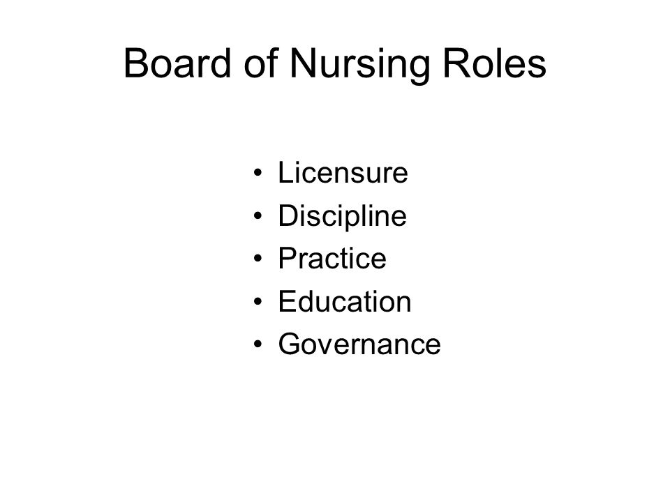 Board of Nursing Roles Licensure Discipline Practice Education Governance