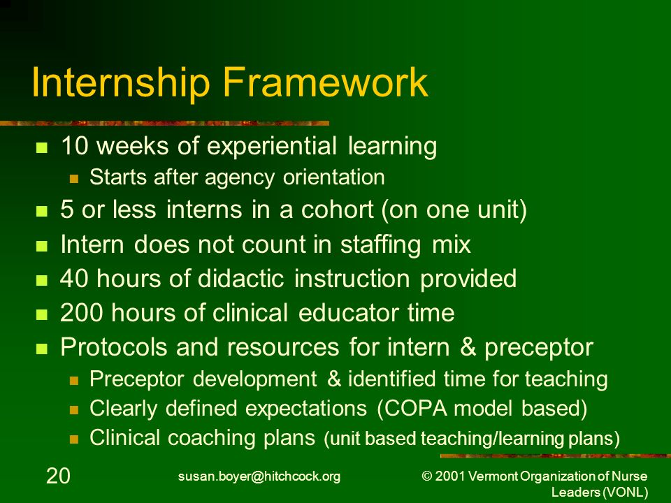 susan.boyer@hitchcock.org © 2001 Vermont Organization of Nurse Leaders (VONL) 20 Internship Framework 10 weeks of experiential learning Starts after agency orientation 5 or less interns in a cohort (on one unit) Intern does not count in staffing mix 40 hours of didactic instruction provided 200 hours of clinical educator time Protocols and resources for intern & preceptor Preceptor development & identified time for teaching Clearly defined expectations (COPA model based) Clinical coaching plans (unit based teaching/learning plans)
