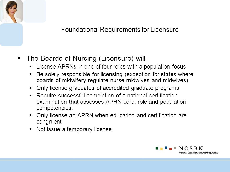 Foundational Requirements for Licensure The Boards of Nursing (Licensure) will License APRNs in one of four roles with a population focus Be solely re