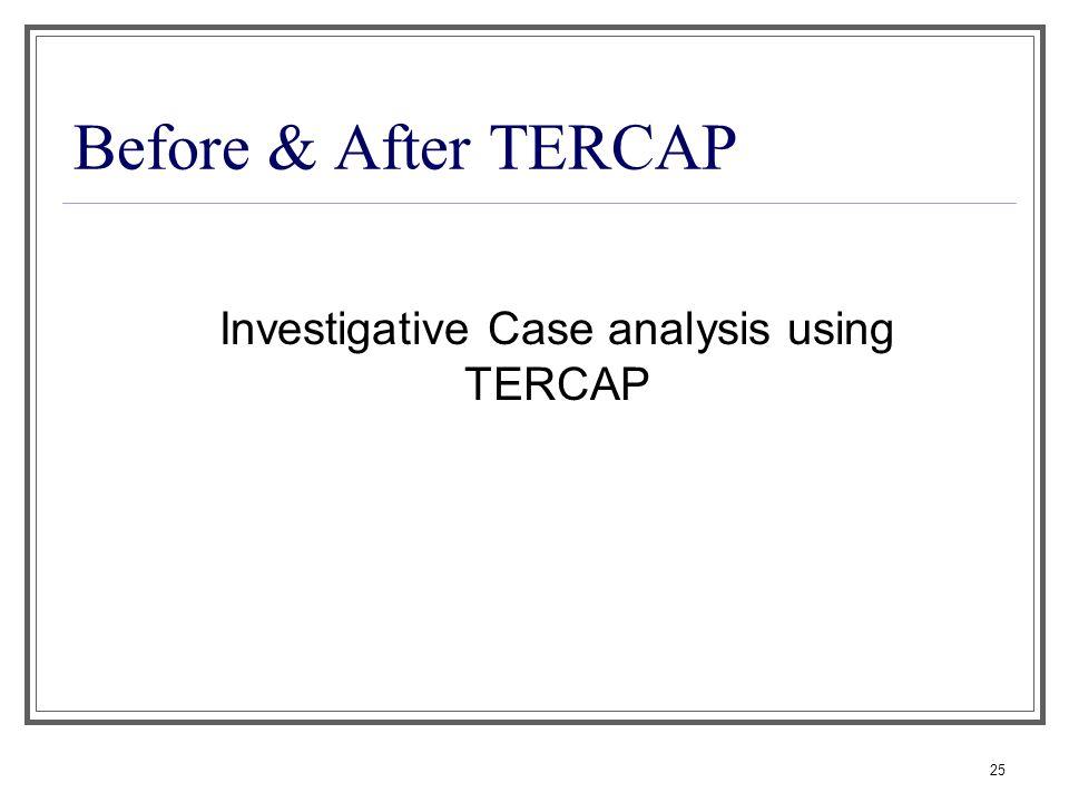 25 Before & After TERCAP Investigative Case analysis using TERCAP