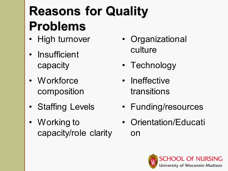 The Organization Resources Use of CQI Decision making participation Supervisor/manager support Team work Safety culture Support for serious/end of life care Learning culture