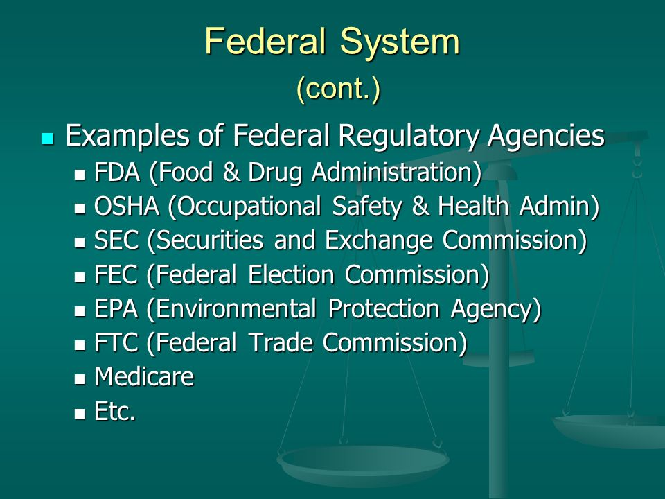 Federal System (cont.) Examples of Federal Regulatory Agencies Examples of Federal Regulatory Agencies FDA (Food & Drug Administration) FDA (Food & Drug Administration) OSHA (Occupational Safety & Health Admin) OSHA (Occupational Safety & Health Admin) SEC (Securities and Exchange Commission) SEC (Securities and Exchange Commission) FEC (Federal Election Commission) FEC (Federal Election Commission) EPA (Environmental Protection Agency) EPA (Environmental Protection Agency) FTC (Federal Trade Commission) FTC (Federal Trade Commission) Medicare Medicare Etc.