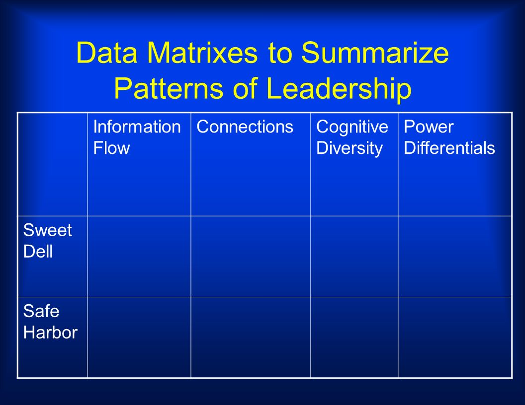 Data Matrixes to Summarize Patterns of Leadership Information Flow ConnectionsCognitive Diversity Power Differentials Sweet Dell Safe Harbor