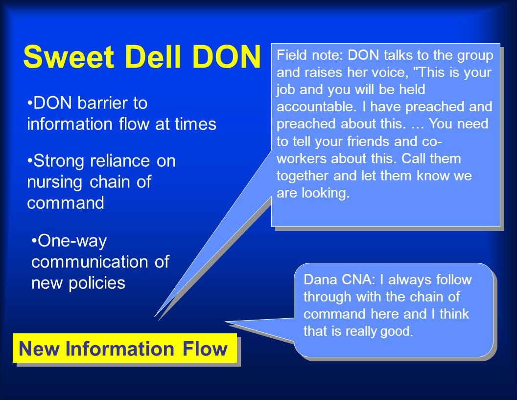 Sweet Dell DON New Information Flow Dana CNA: I always follow through with the chain of command here and I think that is really good. Field note: DON