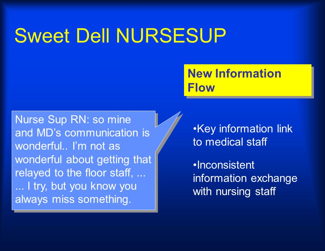 Sweet Dell NURSESUP New Information Flow Nurse Sup RN: so mine and MDs communication is wonderful.. Im not as wonderful about getting that relayed to