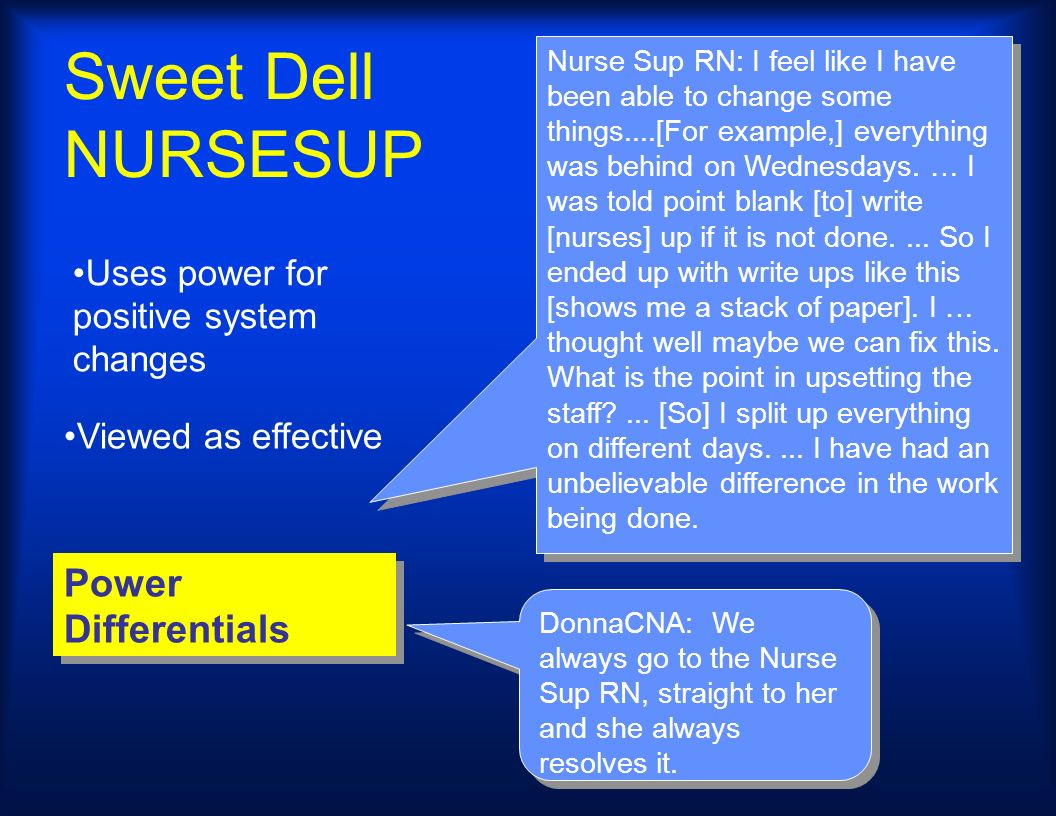 Sweet Dell NURSESUP Power Differentials Nurse Sup RN: I feel like I have been able to change some things....[For example,] everything was behind on We