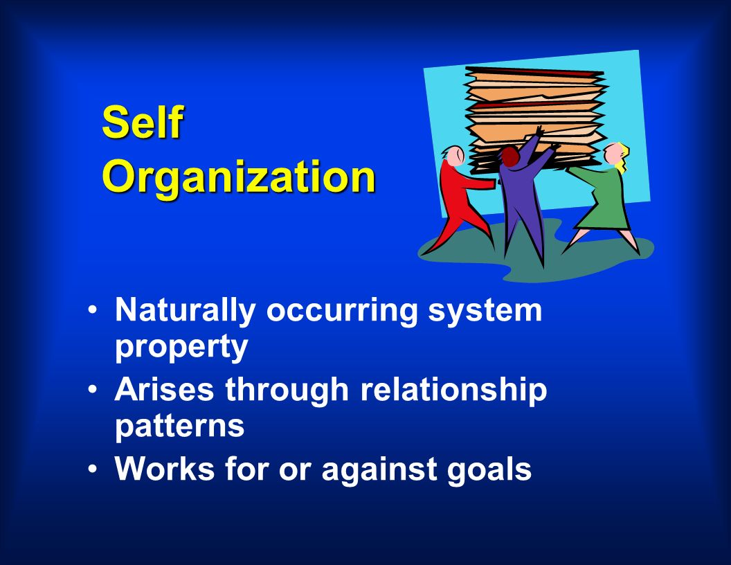 Self Organization Naturally occurring system property Arises through relationship patterns Works for or against goals
