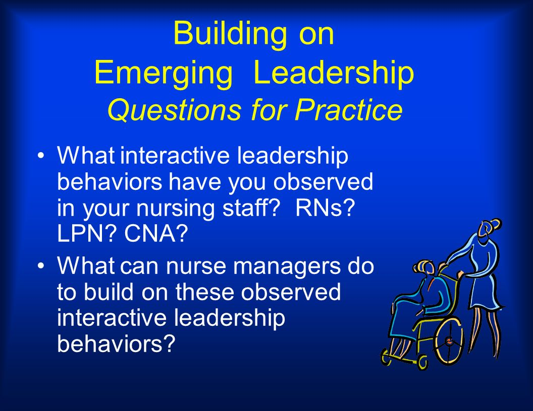 Building on Emerging Leadership Questions for Practice What interactive leadership behaviors have you observed in your nursing staff? RNs? LPN? CNA? W