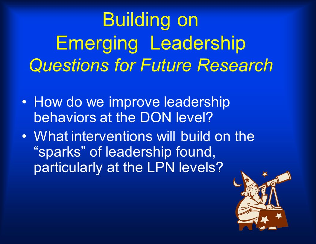 Building on Emerging Leadership Questions for Future Research How do we improve leadership behaviors at the DON level? What interventions will build o