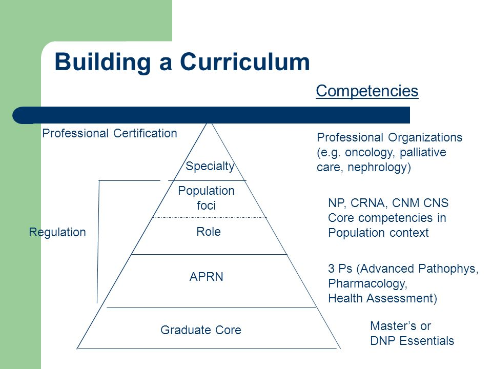Building a Curriculum APRN Role Population foci Specialty Regulation Competencies 3 Ps (Advanced Pathophys, Pharmacology, Health Assessment) NP, CRNA,