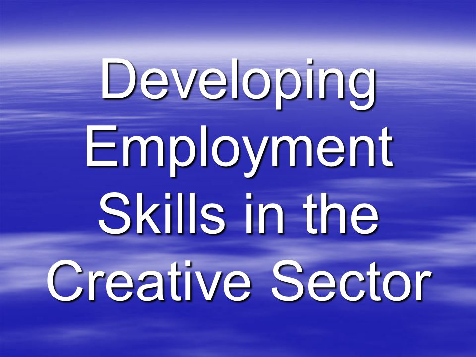 Developing Employment Skills in the Creative Sector