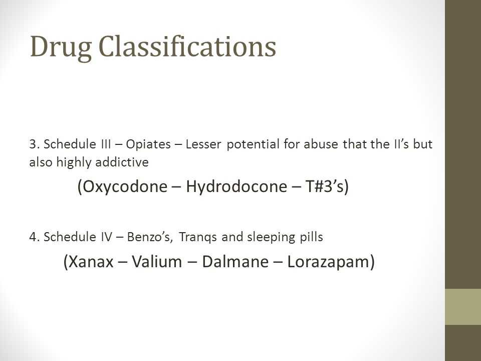 Drug Classifications 3.
