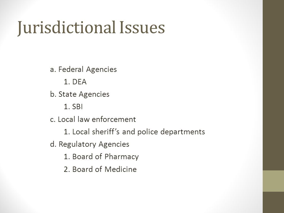 Jurisdictional Issues a. Federal Agencies 1. DEA b.