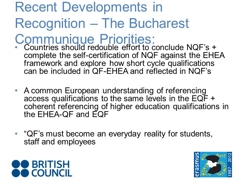 Recent Developments in Recognition – The Bucharest Communique Priorities: Countries should redouble effort to conclude NQFs + complete the self-certification of NQF against the EHEA framework and explore how short cycle qualifications can be included in QF-EHEA and reflected in NQFs A common European understanding of referencing access qualifications to the same levels in the EQF + coherent referencing of higher education qualifications in the EHEA-QF and EQF QFs must become an everyday reality for students, staff and employees