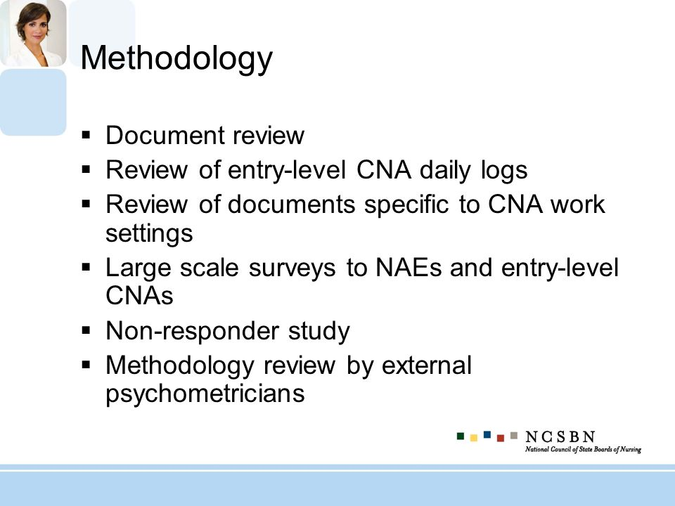 Methodology Document review Review of entry-level CNA daily logs Review of documents specific to CNA work settings Large scale surveys to NAEs and ent