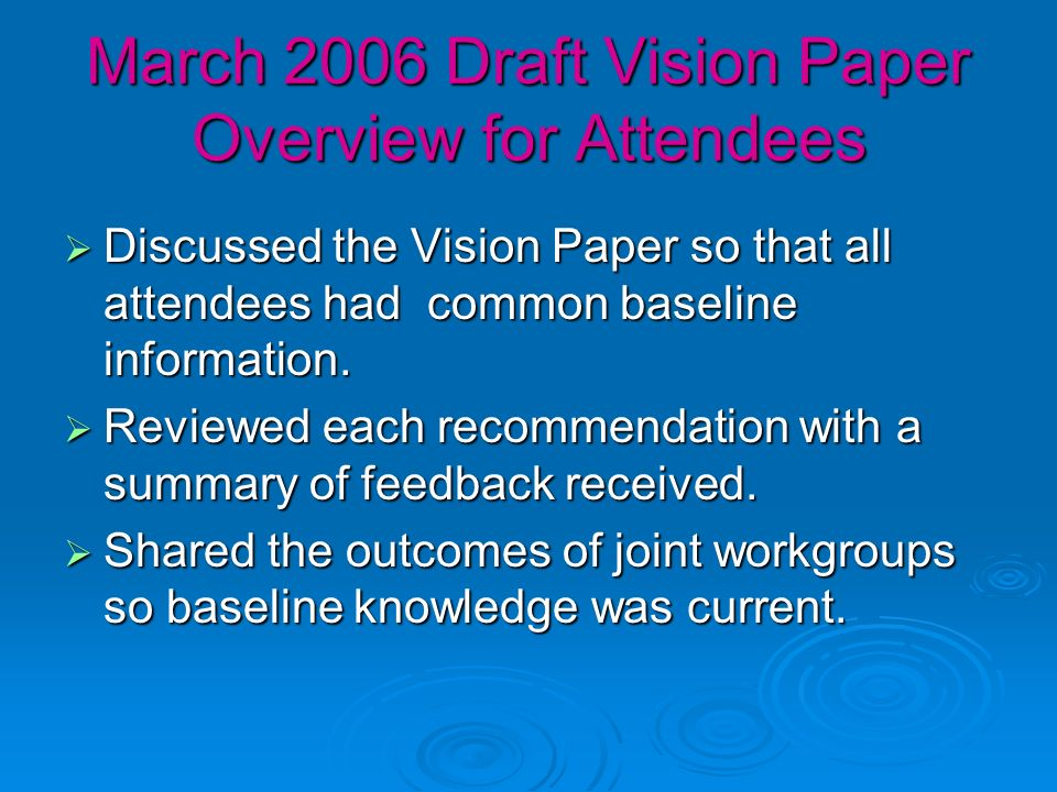 March 2006 Draft Vision Paper Overview for Attendees Discussed the Vision Paper so that all attendees had common baseline information.