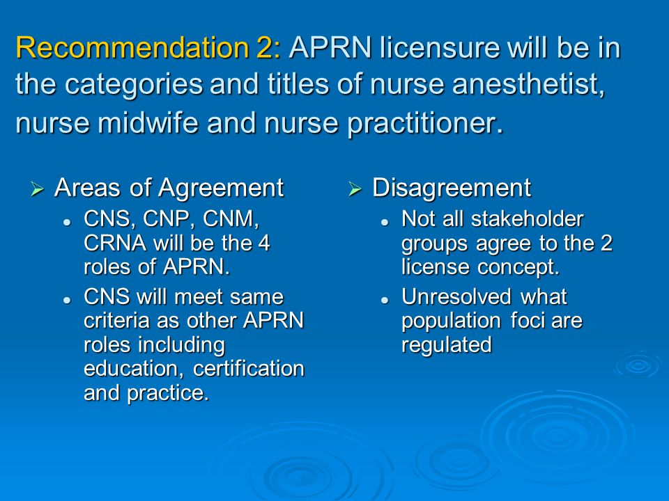 Recommendation 2: APRN licensure will be in the categories and titles of nurse anesthetist, nurse midwife and nurse practitioner.