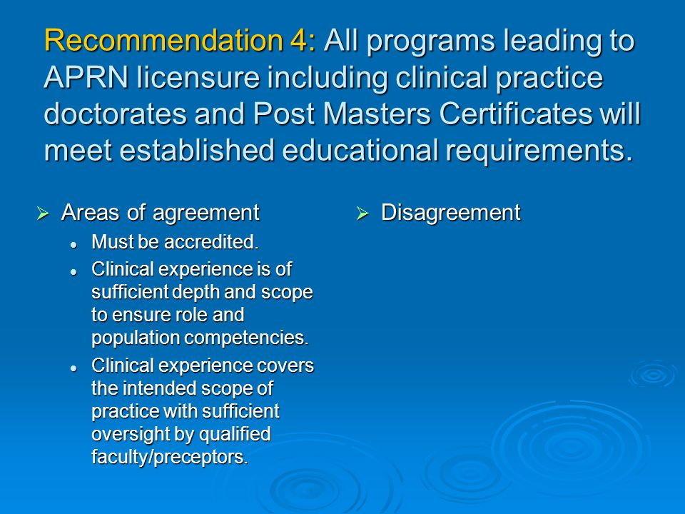 Recommendation 4: All programs leading to APRN licensure including clinical practice doctorates and Post Masters Certificates will meet established educational requirements.