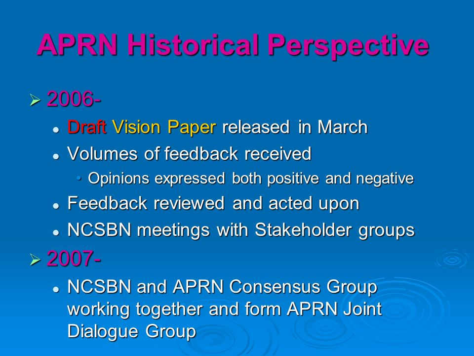 APRN Historical Perspective 2006- 2006- Draft Vision Paper released in March Draft Vision Paper released in March Volumes of feedback received Volumes of feedback received Opinions expressed both positive and negativeOpinions expressed both positive and negative Feedback reviewed and acted upon Feedback reviewed and acted upon NCSBN meetings with Stakeholder groups NCSBN meetings with Stakeholder groups 2007- 2007- NCSBN and APRN Consensus Group working together and form APRN Joint Dialogue Group NCSBN and APRN Consensus Group working together and form APRN Joint Dialogue Group