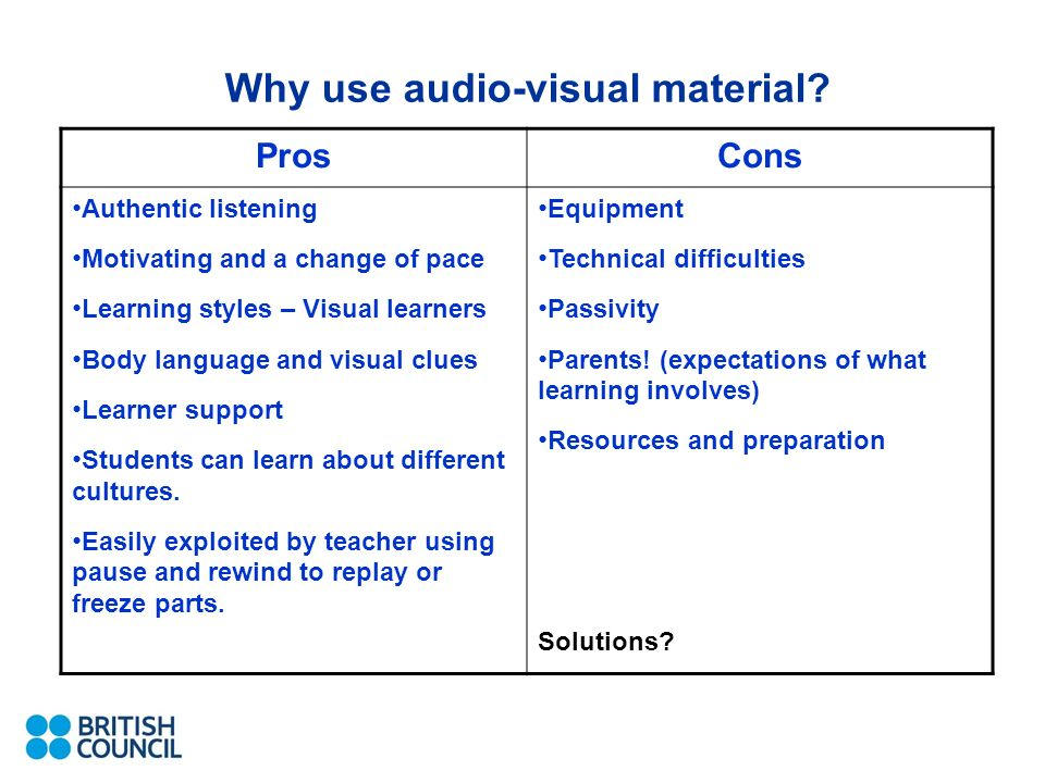 Why use audio-visual material.