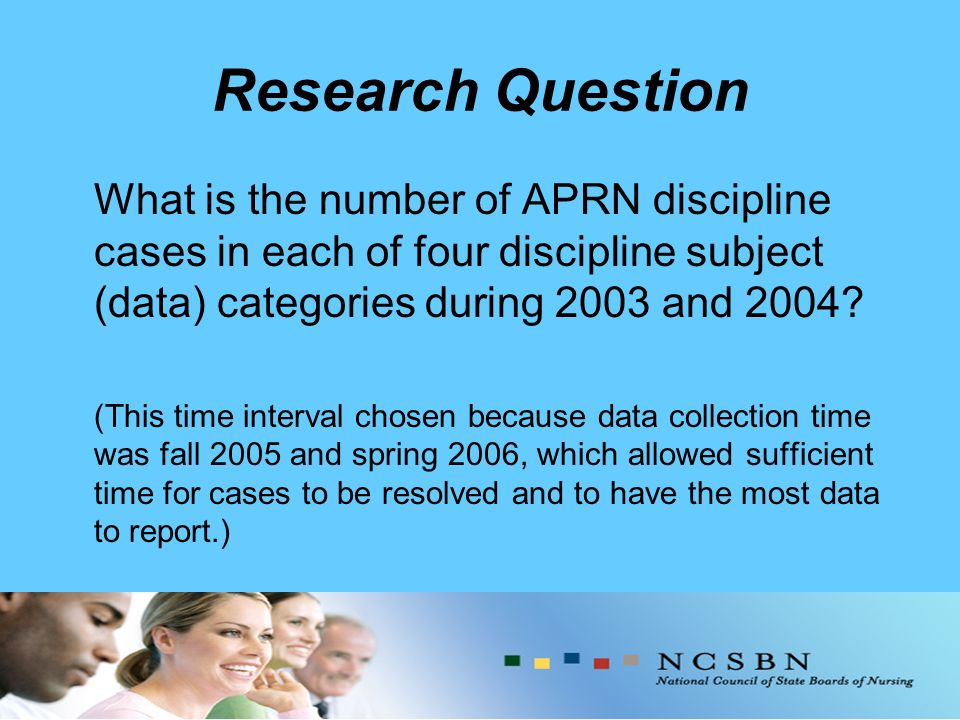 Research Question What is the number of APRN discipline cases in each of four discipline subject (data) categories during 2003 and 2004.