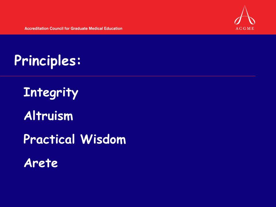Principles: Integrity Altruism Practical Wisdom Arete