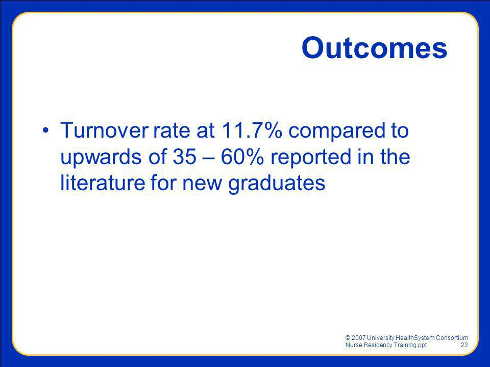 © 2007 University HealthSystem Consortium Nurse Residency Training.ppt23 Outcomes Turnover rate at 11.7% compared to upwards of 35 – 60% reported in t
