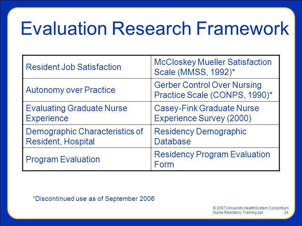 © 2007 University HealthSystem Consortium Nurse Residency Training.ppt24 Resident Job Satisfaction McCloskey Mueller Satisfaction Scale (MMSS, 1992)*