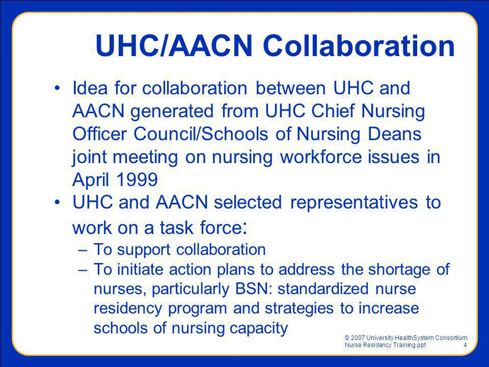 © 2007 University HealthSystem Consortium Nurse Residency Training.ppt4 UHC/AACN Collaboration Idea for collaboration between UHC and AACN generated f