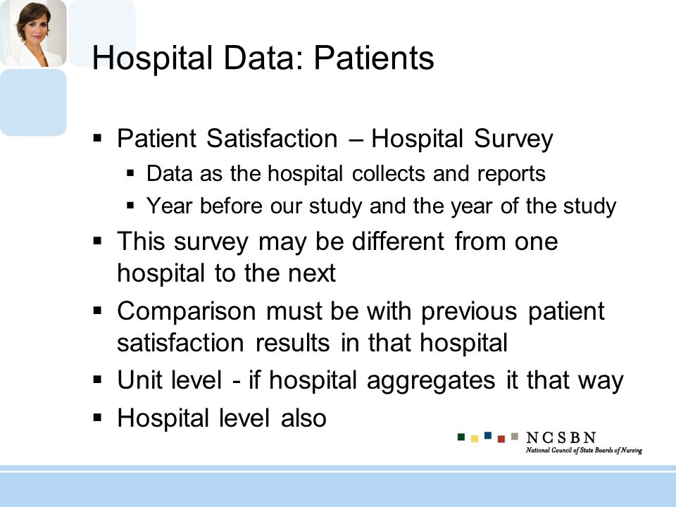 Hospital Data: Patients Patient Outcomes – Unit Level Medication errors (per patient day from previous) *Patient falls with and without injury (per patient day) *Hospital acquired pressure ulcers *Catheter associated Urinary Tract Infections *Central line associated blood stream infections *Ventilator associated pneumonia *NDNQI (Nat l Database Nursing Quality Indicators) Need to know the type of unit