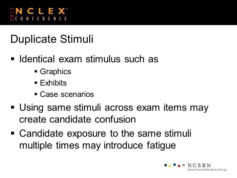 Duplicate Stimuli Identical exam stimulus such as Graphics Exhibits Case scenarios Using same stimuli across exam items may create candidate confusion