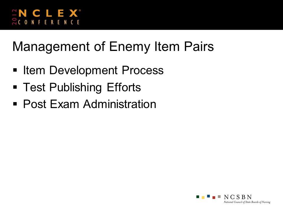 Management of Enemy Item Pairs Item Development Process Test Publishing Efforts Post Exam Administration