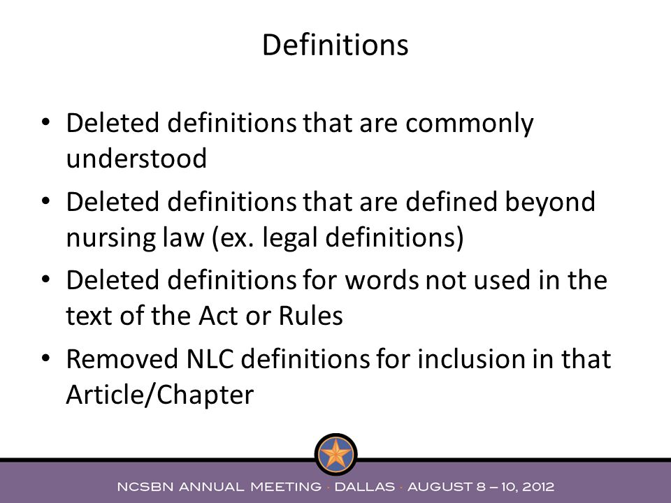 Deleted definitions that are commonly understood Deleted definitions that are defined beyond nursing law (ex.
