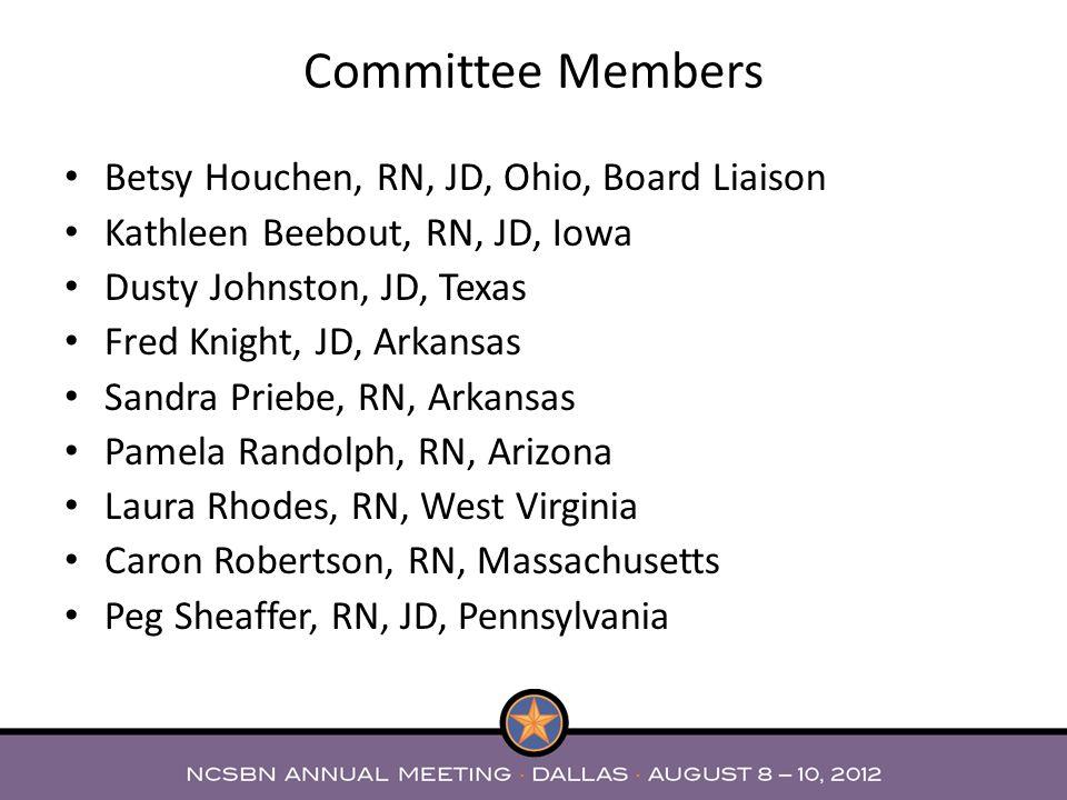 Betsy Houchen, RN, JD, Ohio, Board Liaison Kathleen Beebout, RN, JD, Iowa Dusty Johnston, JD, Texas Fred Knight, JD, Arkansas Sandra Priebe, RN, Arkan