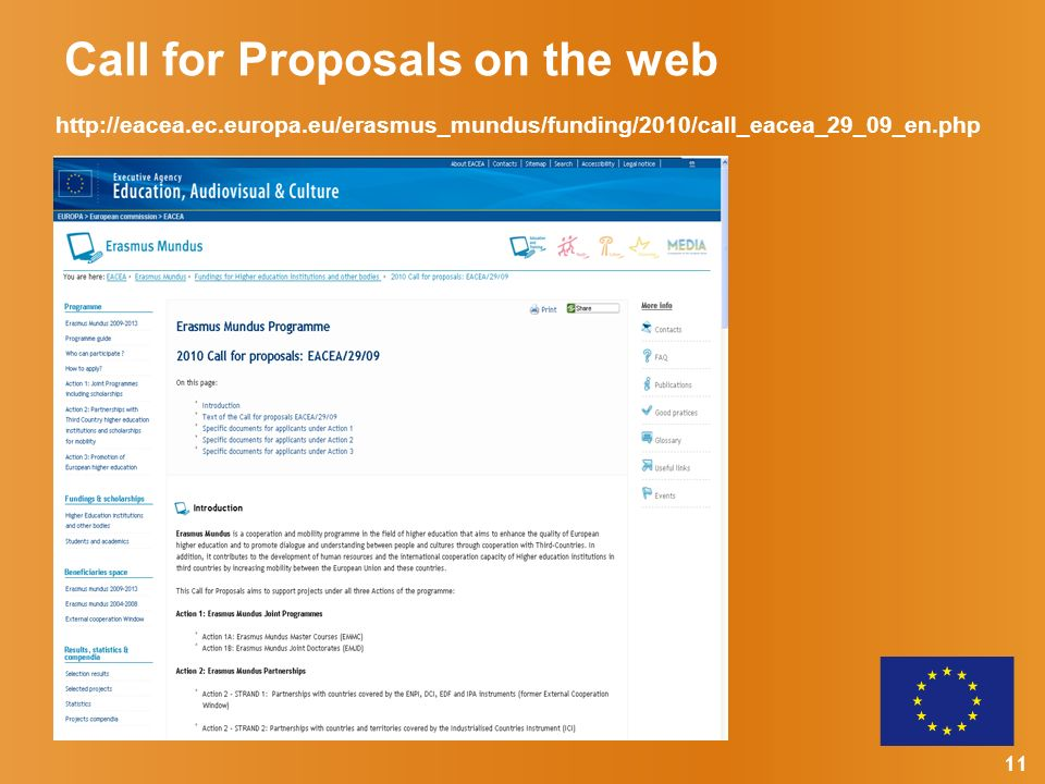11 Call for Proposals on the web http://eacea.ec.europa.eu/erasmus_mundus/funding/2010/call_eacea_29_09_en.php