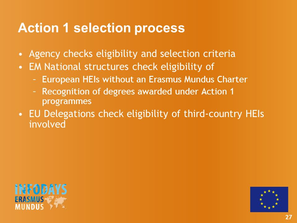 27 Action 1 selection process Agency checks eligibility and selection criteria EM National structures check eligibility of –European HEIs without an Erasmus Mundus Charter –Recognition of degrees awarded under Action 1 programmes EU Delegations check eligibility of third-country HEIs involved