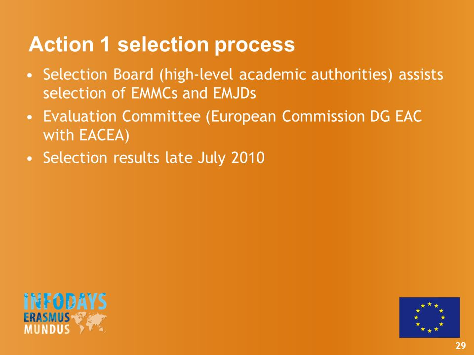 29 Action 1 selection process Selection Board (high-level academic authorities) assists selection of EMMCs and EMJDs Evaluation Committee (European Commission DG EAC with EACEA) Selection results late July 2010