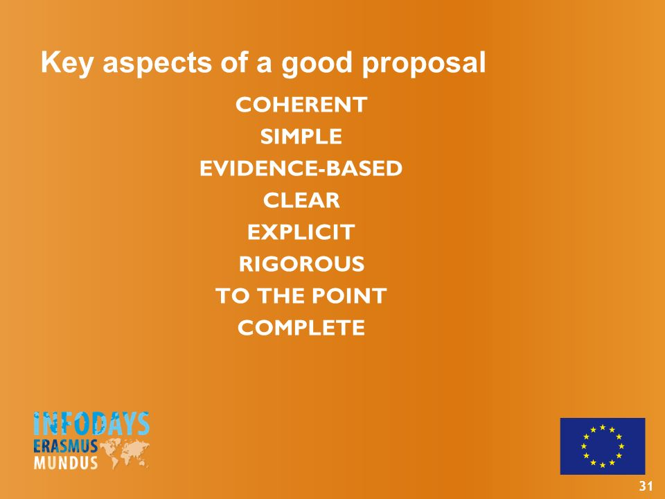 31 Key aspects of a good proposal COHERENT SIMPLE EVIDENCE-BASED CLEAR EXPLICIT RIGOROUS TO THE POINT COMPLETE
