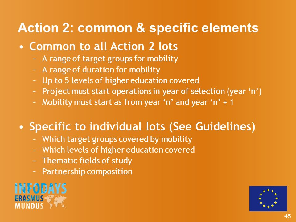 45 Action 2: common & specific elements Common to all Action 2 lots –A range of target groups for mobility –A range of duration for mobility –Up to 5 levels of higher education covered –Project must start operations in year of selection (year n) –Mobility must start as from year n and year n + 1 Specific to individual lots (See Guidelines) –Which target groups covered by mobility –Which levels of higher education covered –Thematic fields of study –Partnership composition