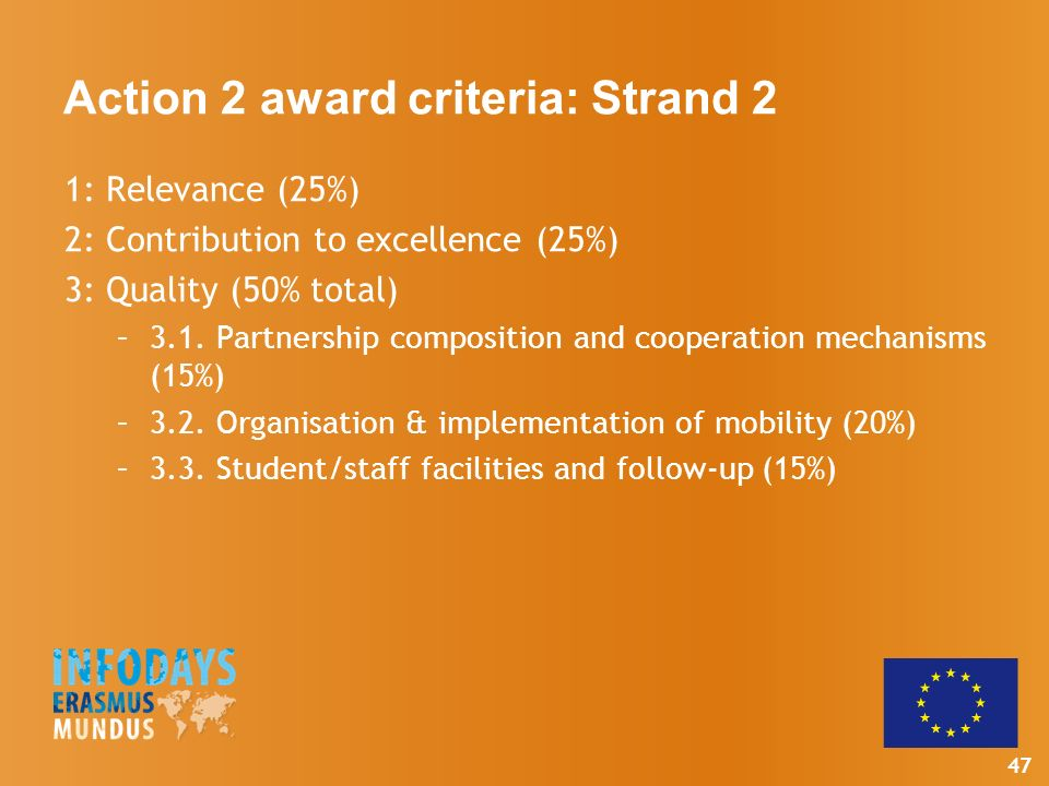 47 Action 2 award criteria: Strand 2 1: Relevance (25%) 2: Contribution to excellence (25%) 3: Quality (50% total) –3.1.