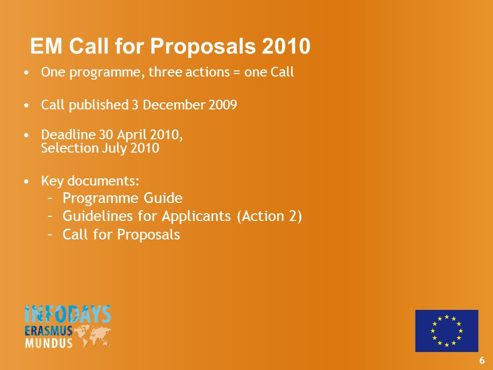6 EM Call for Proposals 2010 One programme, three actions = one Call Call published 3 December 2009 Deadline 30 April 2010, Selection July 2010 Key documents: –Programme Guide –Guidelines for Applicants (Action 2) –Call for Proposals