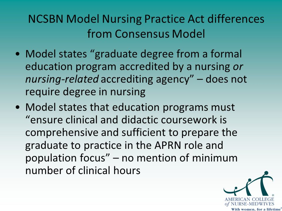 NCSBN Model Nursing Practice Act differences from Consensus Model Model states graduate degree from a formal education program accredited by a nursing or nursing-related accrediting agency – does not require degree in nursing Model states that education programs must ensure clinical and didactic coursework is comprehensive and sufficient to prepare the graduate to practice in the APRN role and population focus – no mention of minimum number of clinical hours