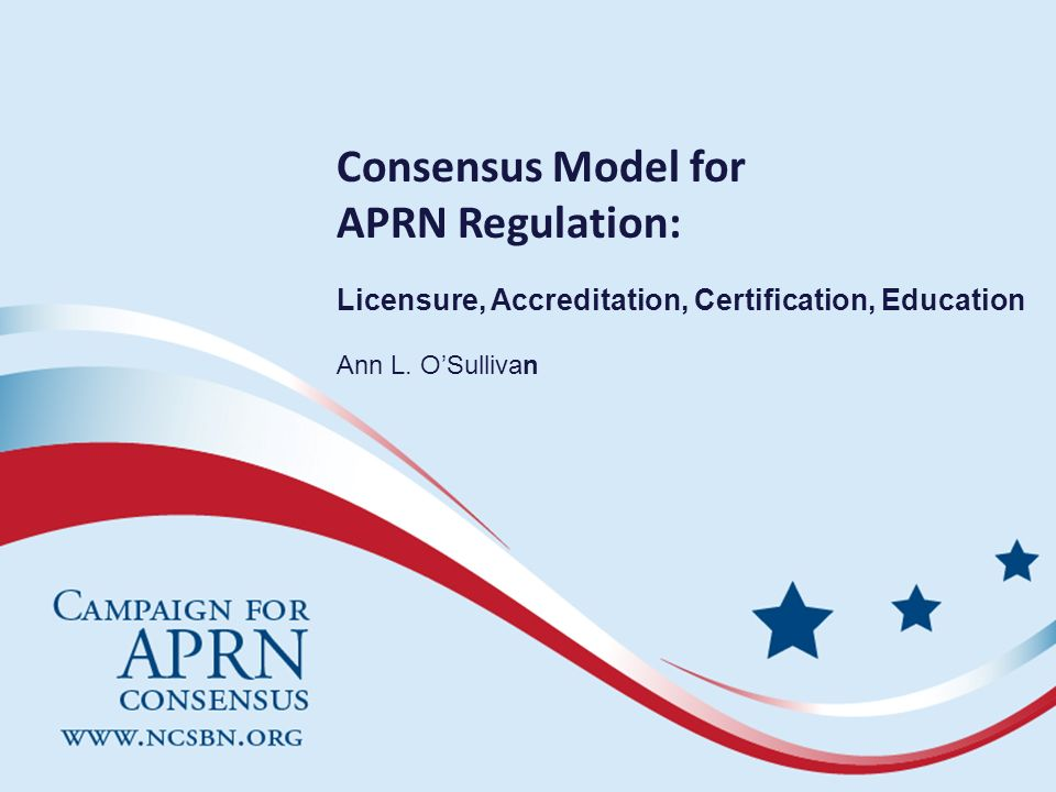 Reasons for a Future APRN Model Lack of common definitions related to APRN roles Lack of standardization in programs leading to APRN preparation Proliferation of specialties and subspecialties Lack of common legal recognition across jurisdictions