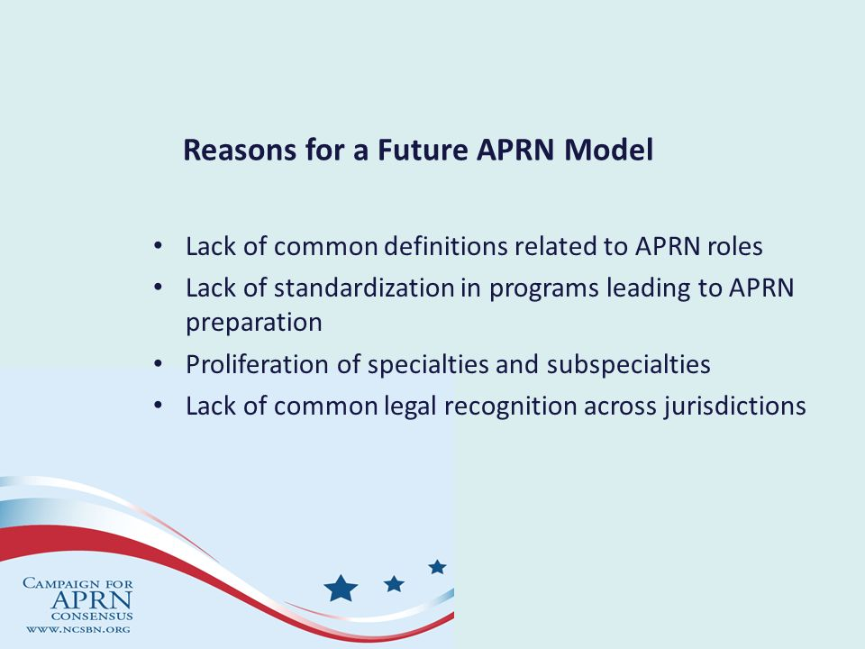 Reasons for a Future APRN Model Lack of common definitions related to APRN roles Lack of standardization in programs leading to APRN preparation Proli