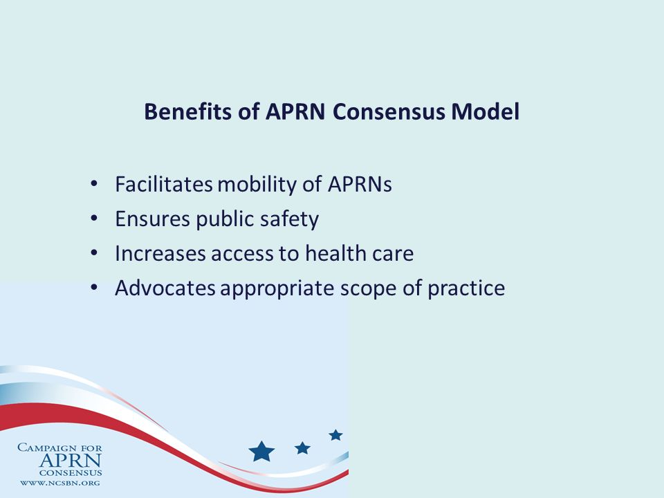 Foundational Requirements for Education APRN educational programs/tracks leading to eligibility for an APRN license will: – Follow established educational standards and ensure attainment of the APRN core, role core and population core competencies – Be accredited by a nursing accrediting organization that is recognized by the U.S.